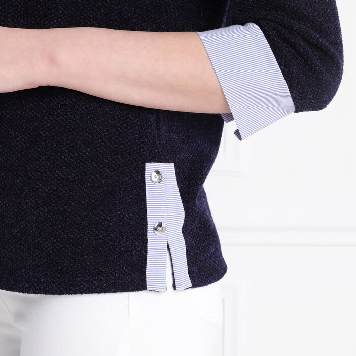 T-shirt manches 3/4 boutonné bleu foncé femme