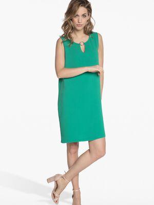 Robe droite avec anneau vert femme