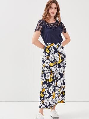 Jupe longue evasee bleu marine femme