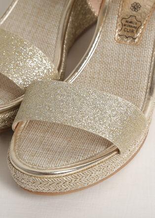 Sandales a talon compense irisees couleur or femme