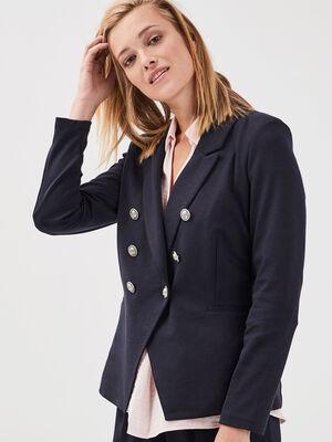 Veste cintree col crante bleu fonce femme