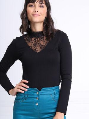 T shirt manches longues noir femme