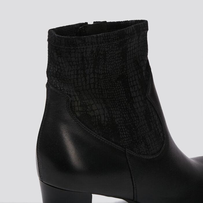 Bottines à talons en cuir noir femme