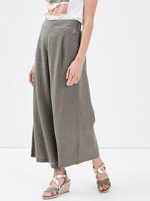 Pantalon large taille haute vert kaki femme