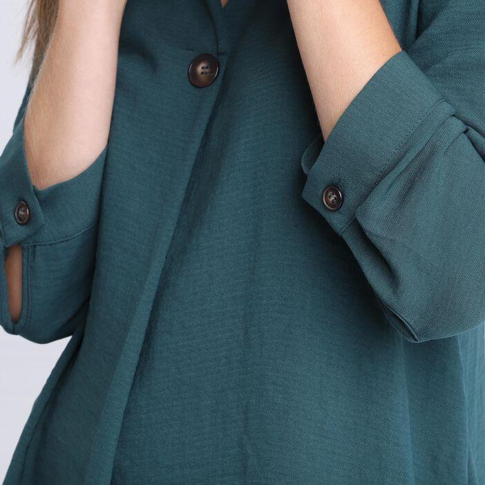 Blouse manches 3/4 boutonnées vert foncé femme