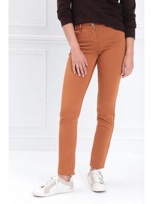 Pantalon ajuste taille haute marron femme