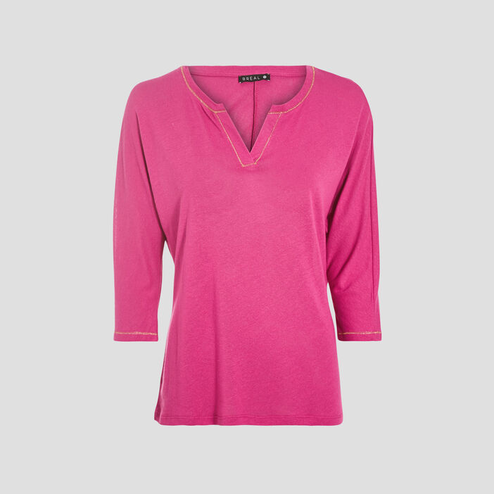 T-shirt manches 3/4 rose fushia femme