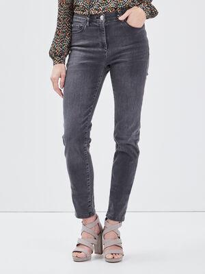 Jean ajuste taille standard gris femme