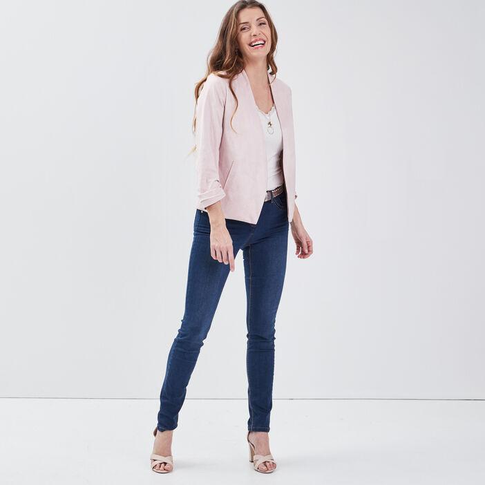 Veste droite col châle rose femme