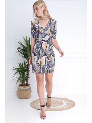 Robe maille imprime multicolore femme