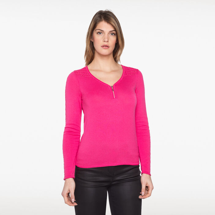 Pull zippé avec maille fantaisie rose fushia femme