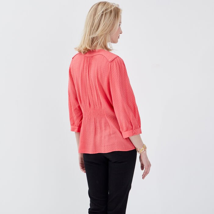 Blouse manches 3/4 rose femme