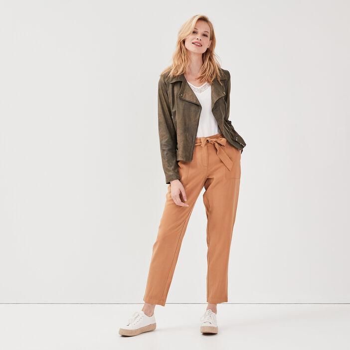 Pantalon flou taille standard marron clair femme