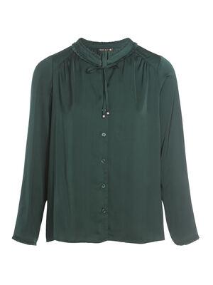 Chemise manches longues vert fonce femme