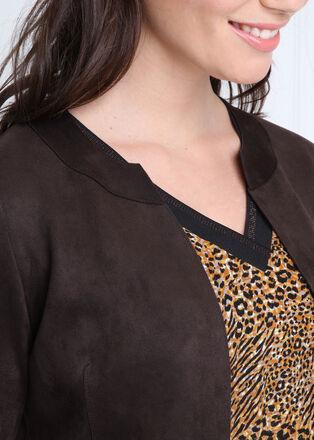 Veste ouverte en suedine monochrome marron femme
