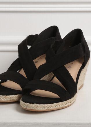 Sandales compensees croisees noir femme