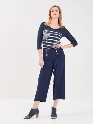 Pantalon a pont taille haute bleu marine femme