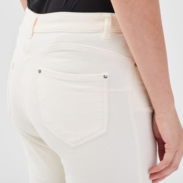 Pantalon évasé taille basculée creme femme