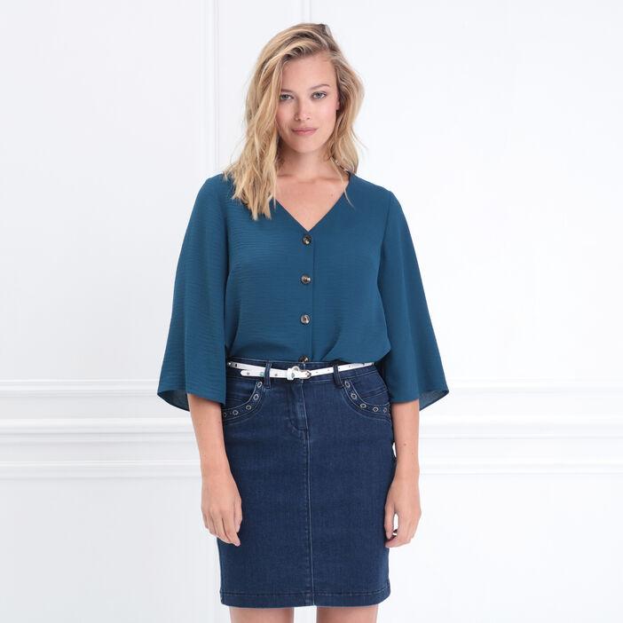 Chemise manches 3/4 col en V bleu canard femme