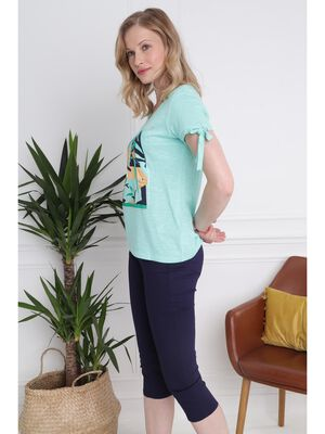 Pantacourt avec details zips bleu fonce femme