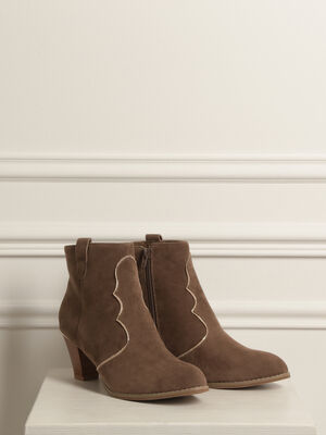 Bottines talon bottier marron clair femme