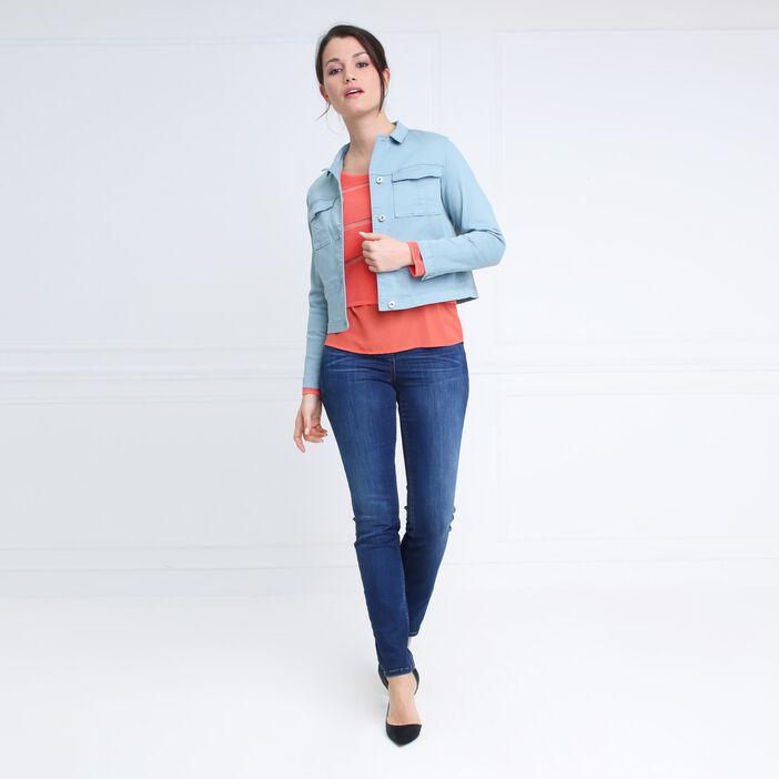 Veste courte double poches vert foncé femme