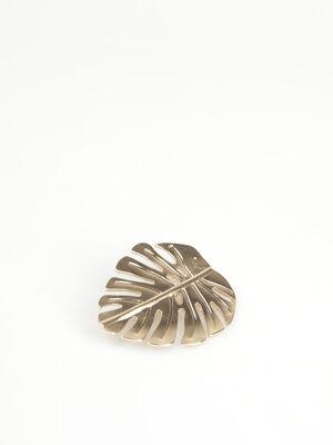 Broche metallisee ciselee couleur or femme