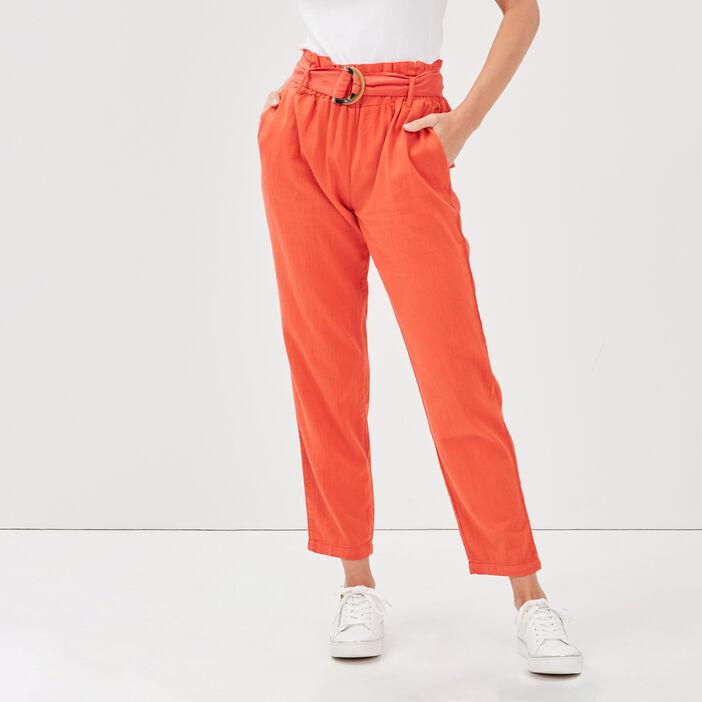 Pantalon flou taille haute rouge femme
