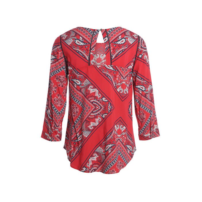 Blouse manches 3/4 col rond rouge femme