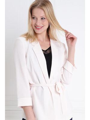 Veste fluide ceinturee rose clair femme