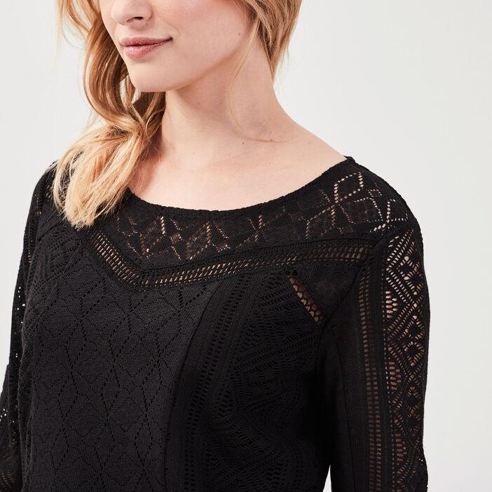 T-shirt manches 3/4 dentelle noir femme