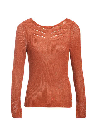 Pull manches longues orange fonce femme