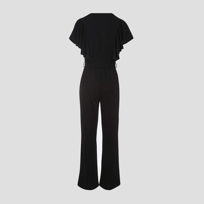 Combinaison pantalon à volants noir femme