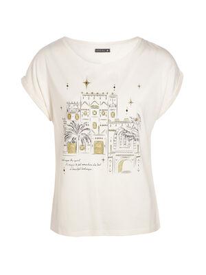 T shirt avec dessin ville avant ivoire femme