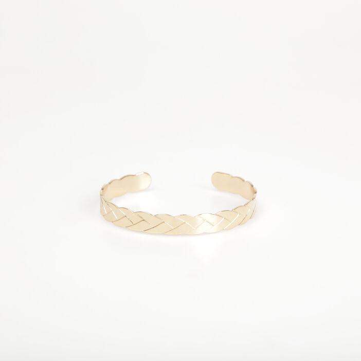 Bracelet jonc métal tressé couleur or femme