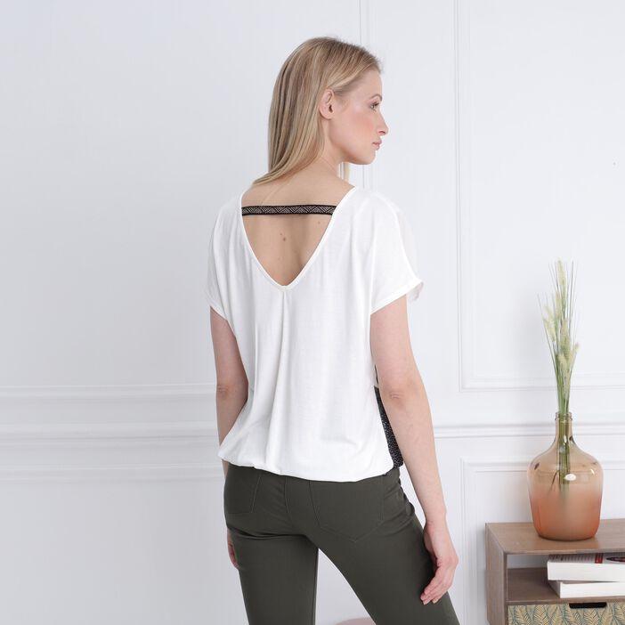 T-shirt manches courtes fluide ecru femme