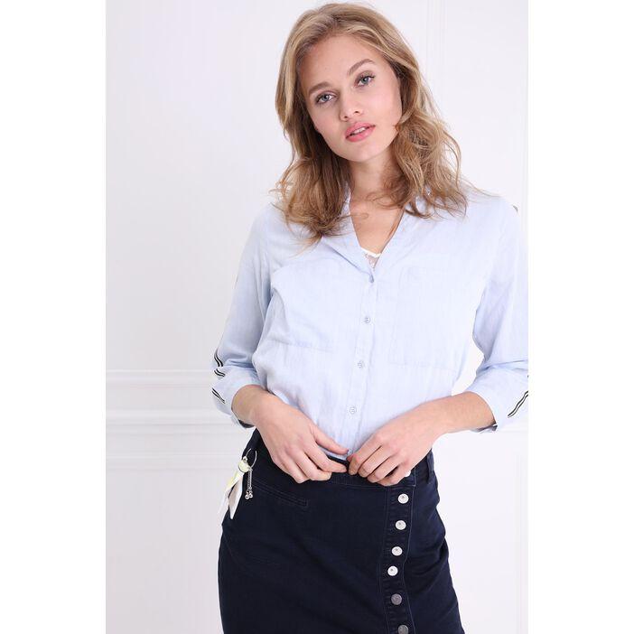 Chemise manches longues bande latérale bleu gris femme