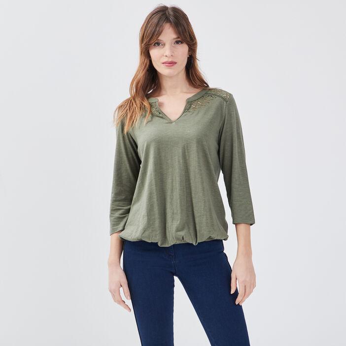 T-shirt manches 3/4 vert kaki femme