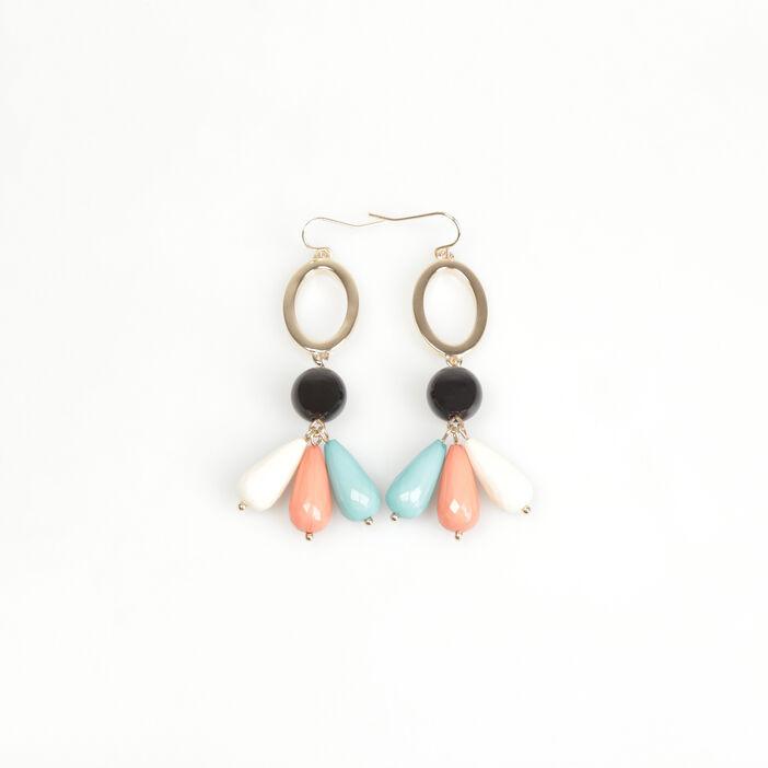 Boucles d'oreilles perles couleur or femme
