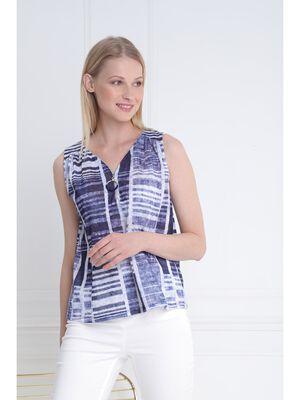 Debardeur col zippe bleu fonce femme