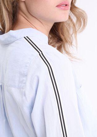 Chemise manches longues bande laterale bleu gris femme