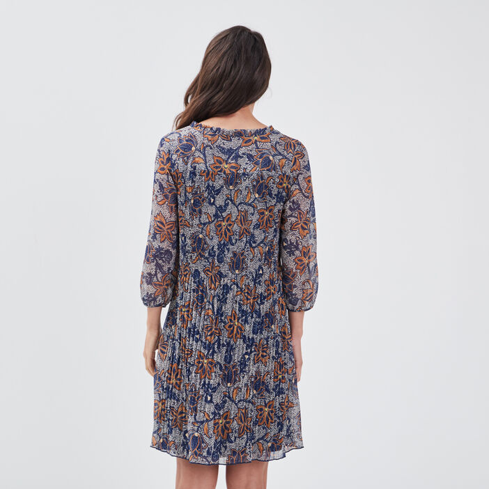 Robe droite plissée ecru femme