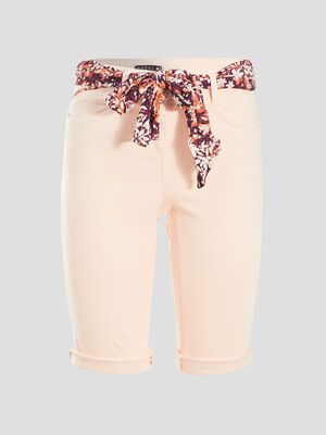 Short ajuste ceinture foulard rose clair femme