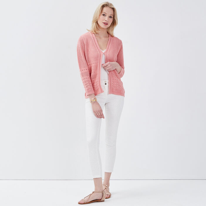 Gilet manches longues rose corail femme