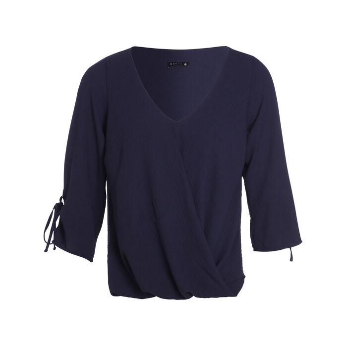 Blouse manches 3/4 drapé bleu femme