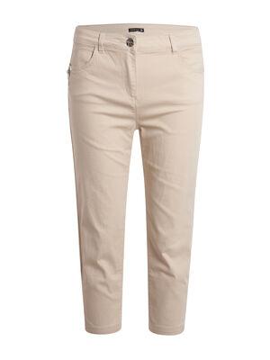Pantacourt detail zip beige femme
