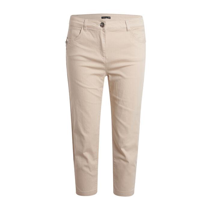 Pantacourt détail zip beige femme