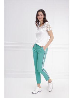 Pantalon ajuste taille basculee vert femme