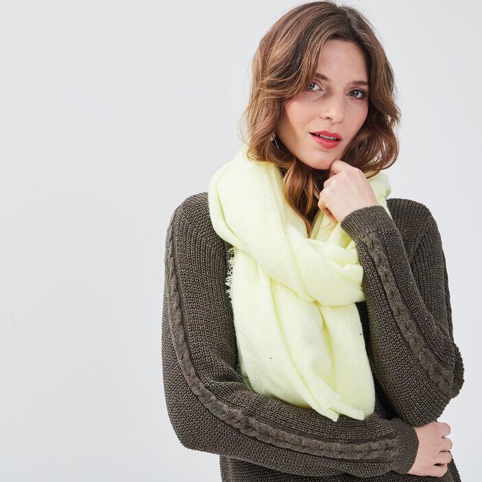 Foulard clous maille unie jaune clair femme