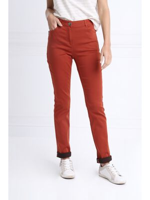 Pantalon taille standard zip poches orange fonce femme